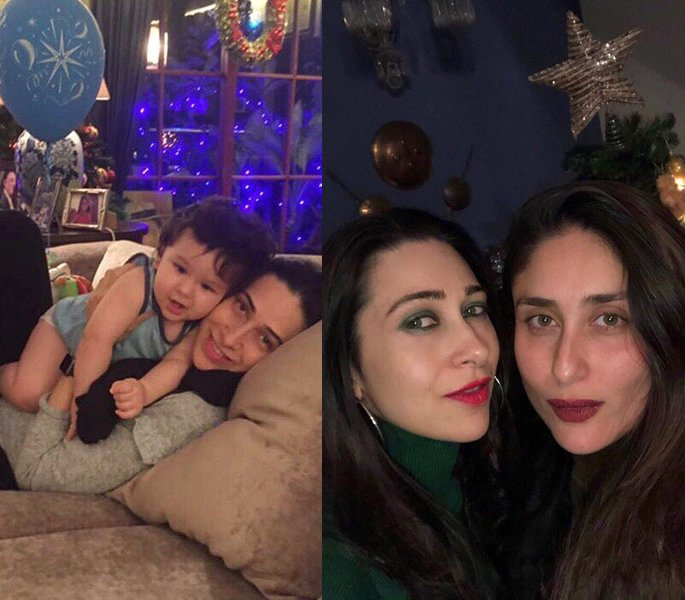 Karisma with Taimur and Kareena