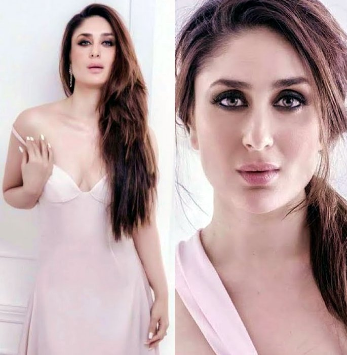Kareena with a low-neck, pink dress