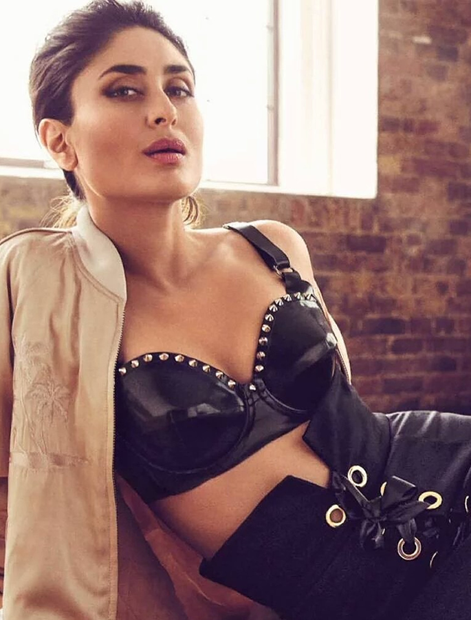 Kareena wearing a leather bralet and skirt