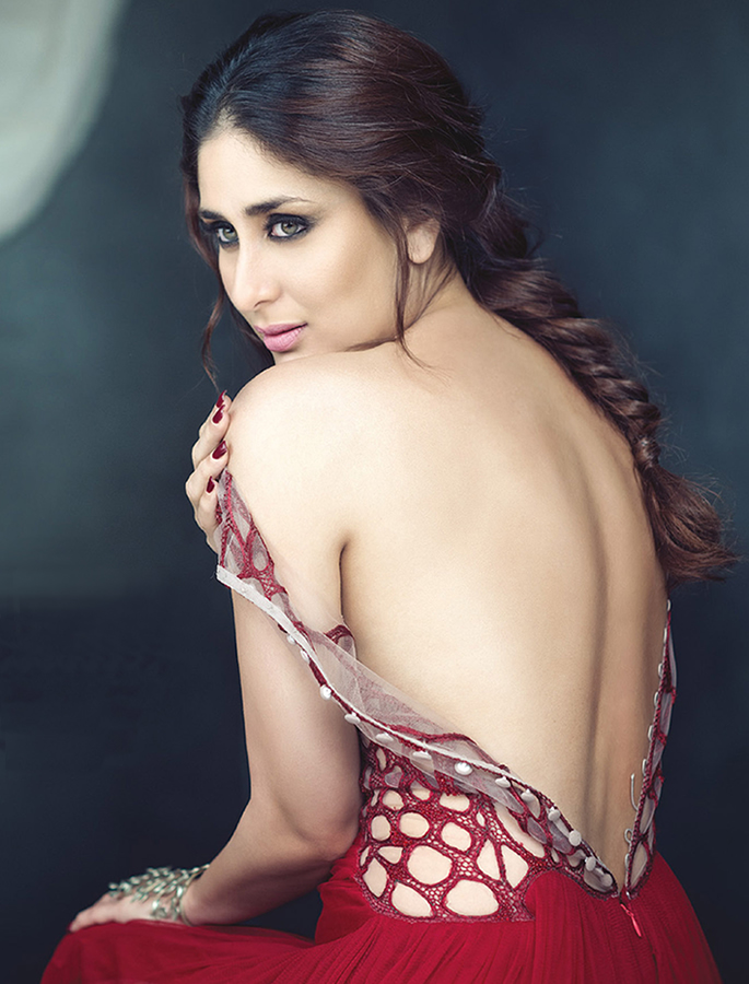 Kareeena in a red, backless dress