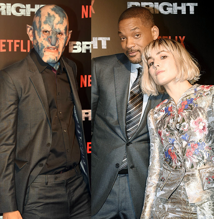 The stars of Bright on red carpet