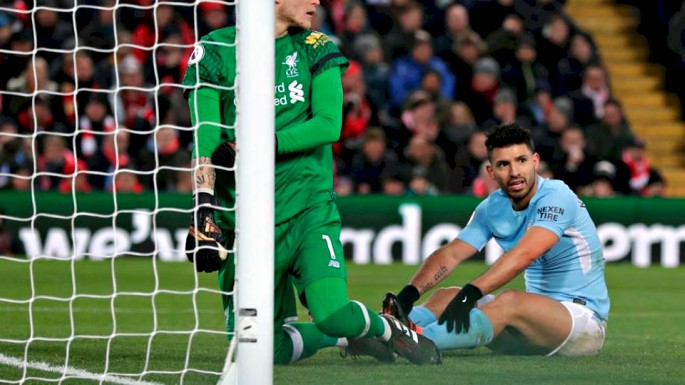 Sergio Aguero once again struggled against Liverpool at Anfield