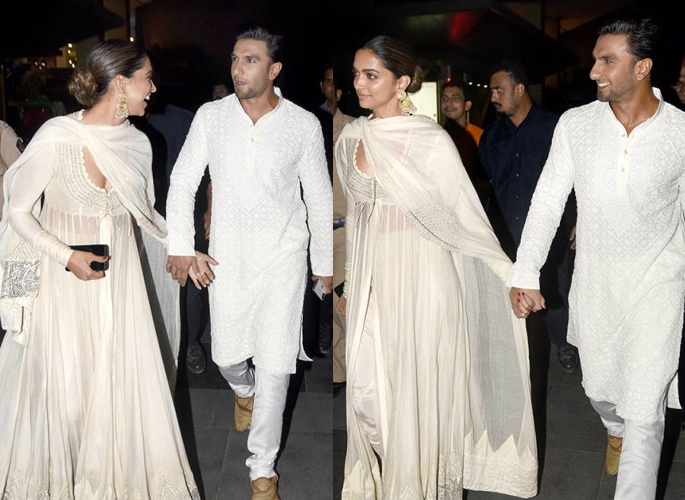 Deepika and Ranveer holding hands