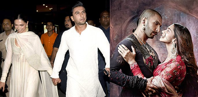 Deepika and Ranveer together and Bajirao Mastani film poster