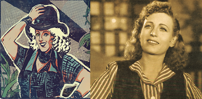 Google Doodle's depiction of Fearless Nadia and the woman herself