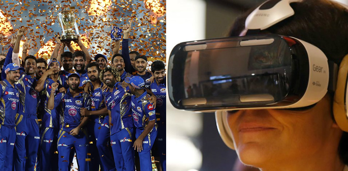 IPL 2017 final and woman with VR headset