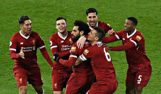 Mohamed Salah celebrates scoring Liverpool's fourth goal