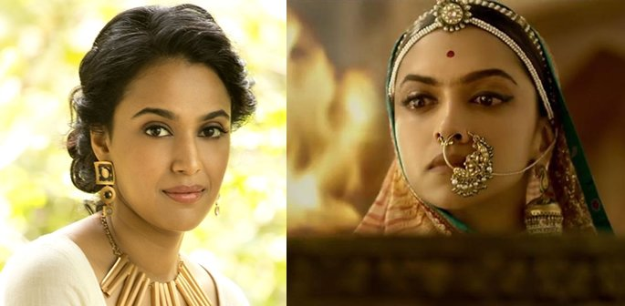 Swara and a still from Padmaavat