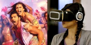 Collage of Alia Bhatt with Varun Dhawan and a woman using a VR headset