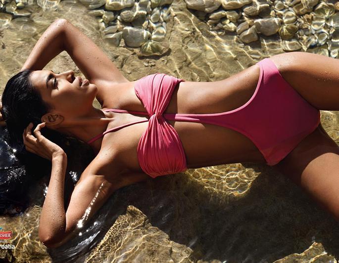 Priyanka Karunakaran wearing a pink bikini