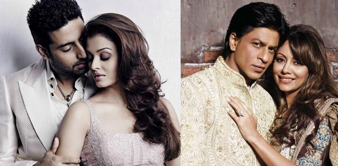 Aishwarya with Abhishek and SRK with Gauri