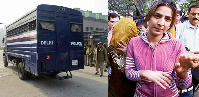 A police van and Sonu Punjaban