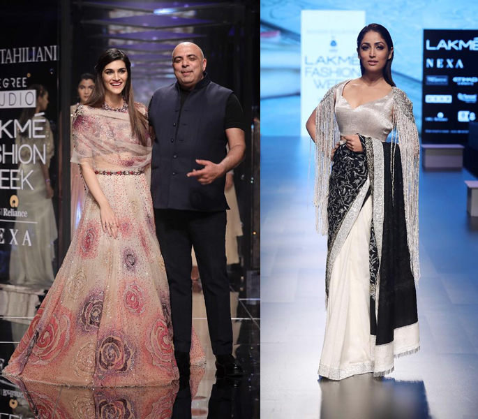 Kriti Sanon and a model for Manish Malhotra's show