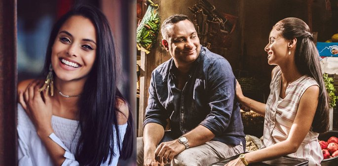 Mishqah smiling and with Russell Peters