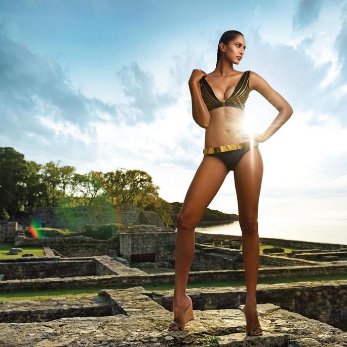 Mitali wearing a black bikini for Kingfisher Calendar 2018