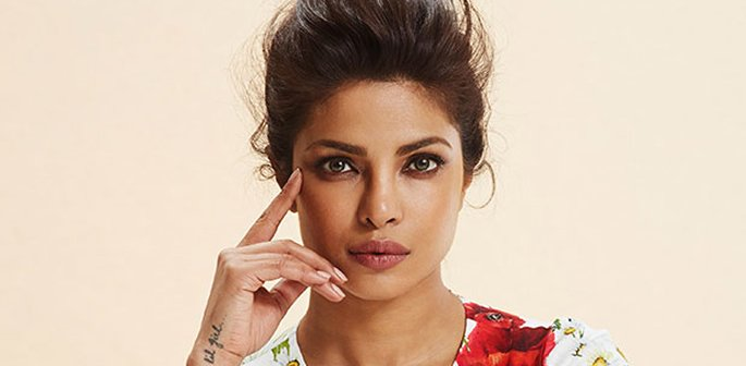 Priyanka with her hair styled up