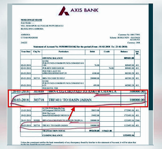 shami bank statement - corruption clearance