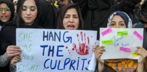 Protests demanding death penalty for the rapists in the Kathua case