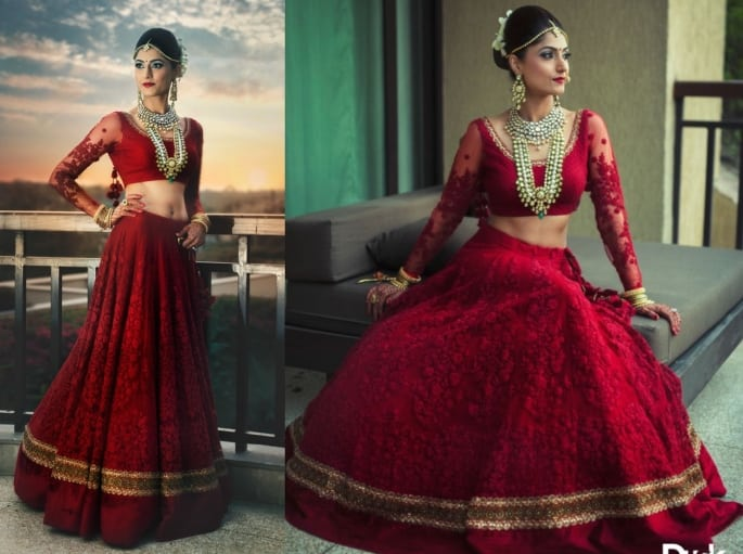 The Red Net Lehenga