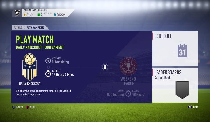 FIFA Ultimate Team 'FUT Champions Menu'