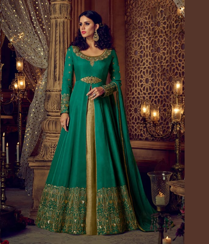 c3d03b7e41 Parakeet green mixes perfectly with gold in this lehenga design.