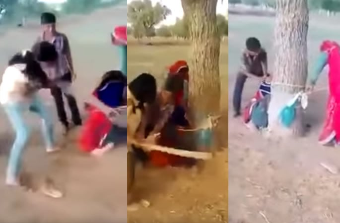 shocking video woman flogged tree
