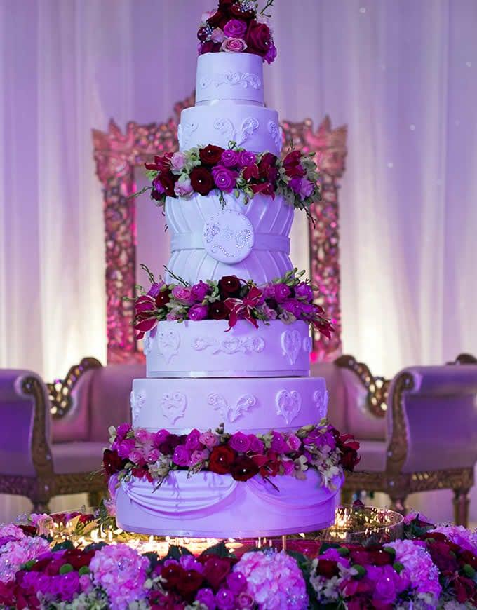 desi wedding cakes purple