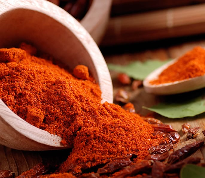 essential indian spices red chilli powder