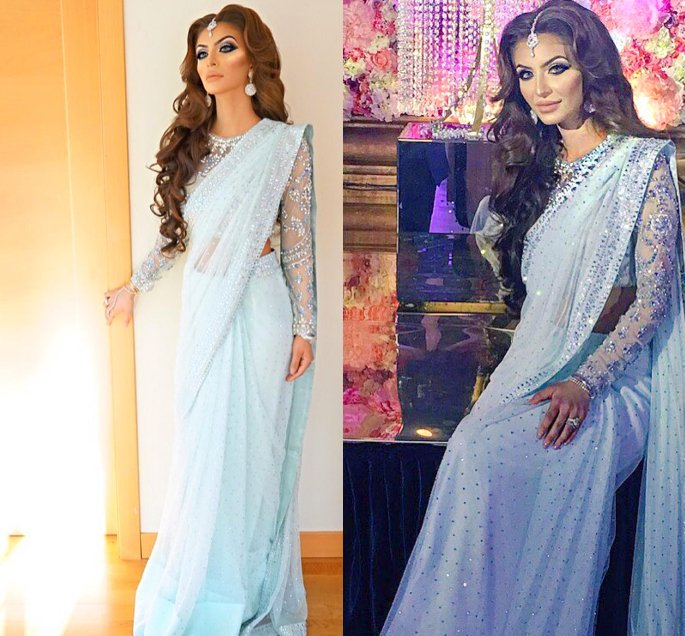 10 Best Looks of Faryal Makhdoom - Baby Blue Saree Mina Hasan