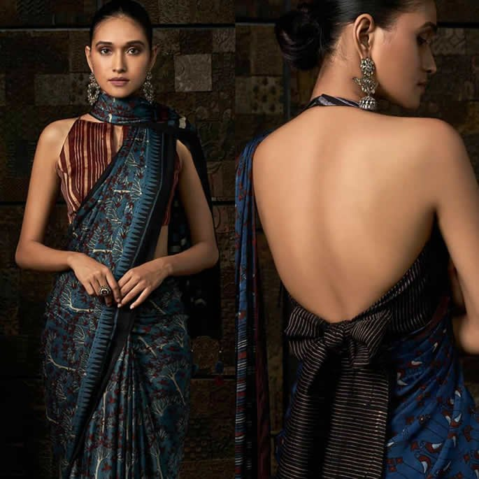 Gorgeous Saree Fashion Trends for 2019 Halterneck Blouses