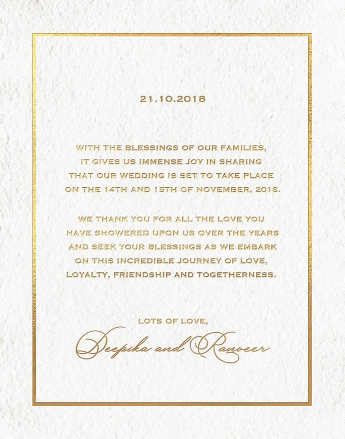 Ranveer Singh and Deepika Padukone announce Wedding Date card