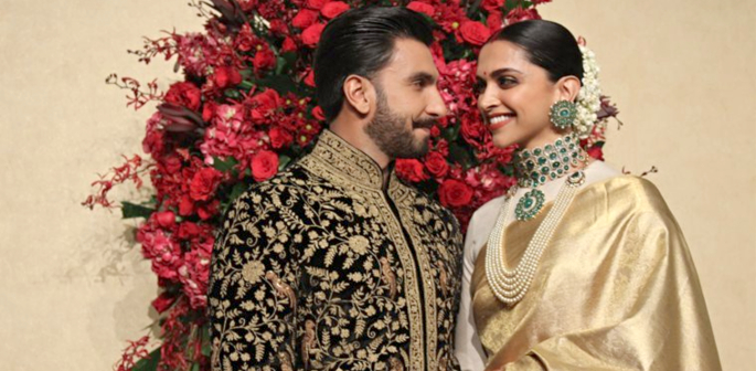 Deepika and Ranveer look stunning for Wedding Reception f