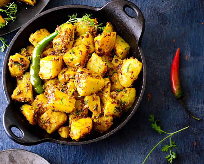 Desi Recipes which are 500 Calories or Less - Jeera Aloo