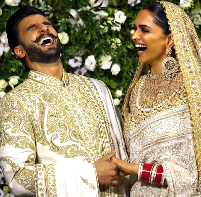 Ranveer & Deepika host Grand Mumbai Wedding Reception - laughing