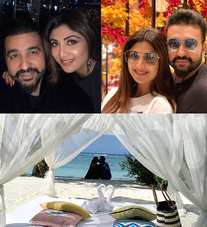 Shilpa Shetty rocks a Blue Bikini in the Maldives for Anniversary - shilpa shetty and raj kundra