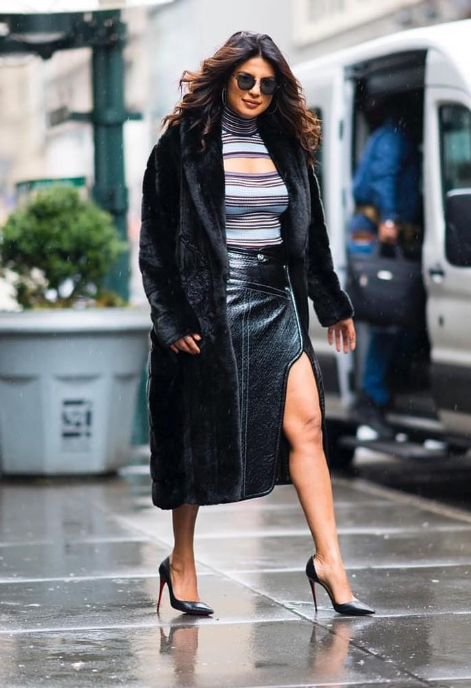10 Gorgeous Fashion Looks of Priyanka Chopra - fur leather