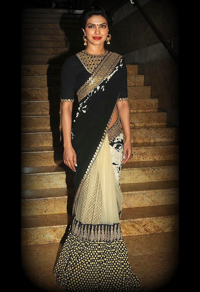 10 Gorgeous Fashion Looks of Priyanka Chopra - half and half saree