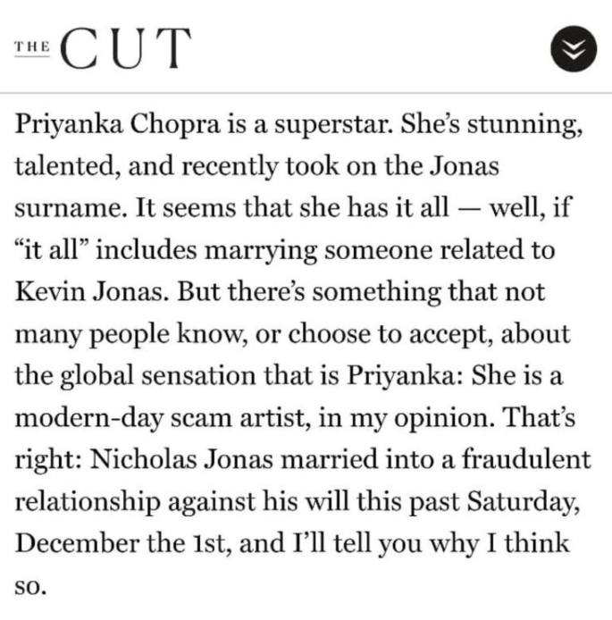 Is 'The Cut' article Racist and Sexist against Priyanka Chopra_