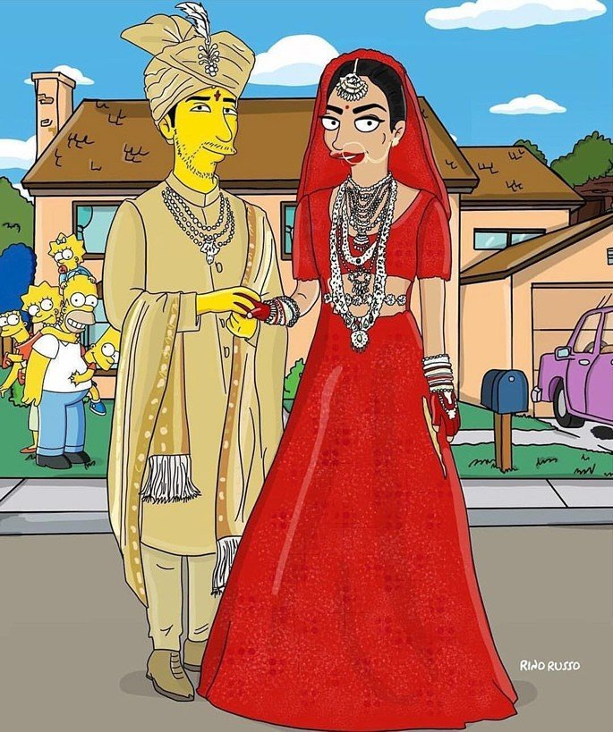 Priyanka and Nick Wedding illustrated with The Simpsons - Indian