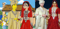 Priyanka and Nick Wedding illustrated with The Simpsons