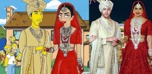 Priyanka and Nick Wedding illustrated with The Simpsons f
