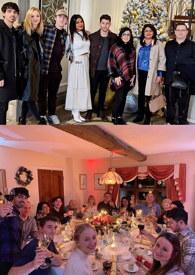 Priyanka and Nick celebrate Festive Holidays in the UK - eve and dinner