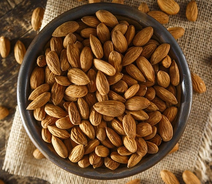 7 Desi Remedies for help with Gastritis and Digestion Problems - almonds