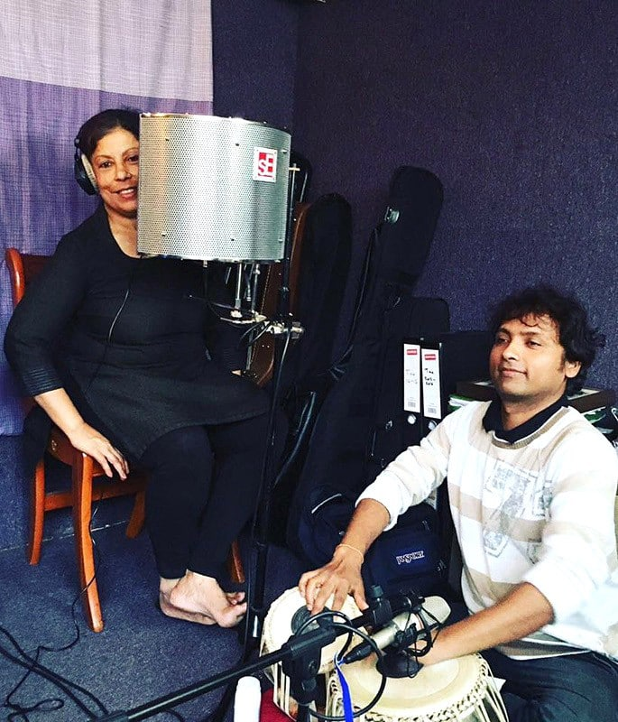 Sujata Banerjee talks Indian Dance, Process & Education - Sujata at recording studio