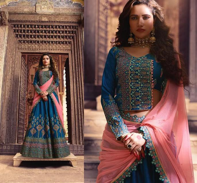 Modern Bridal Lehengas for your Wedding - blue pink