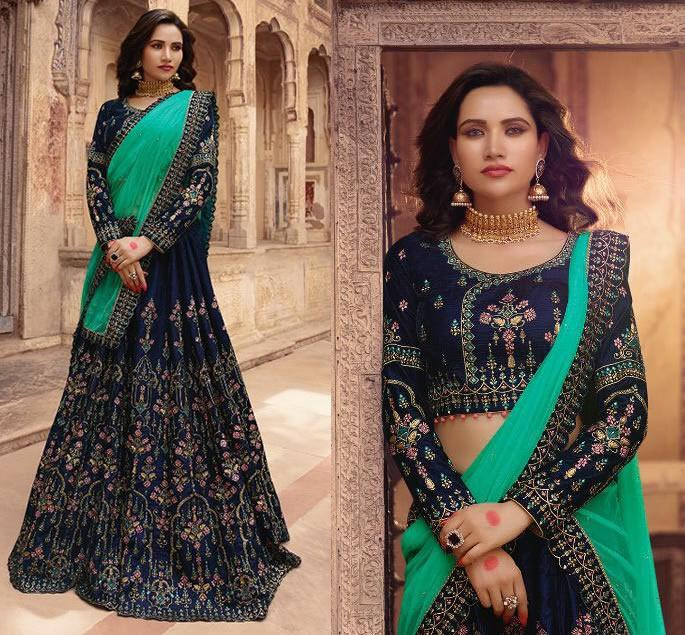 Modern Bridal Lehengas for your Wedding - midnight blue 3