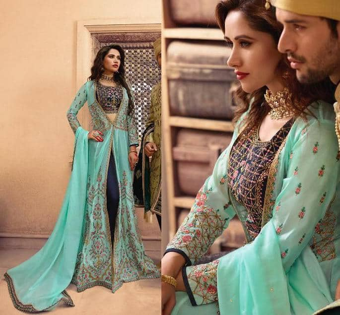 Modern Bridal Lehengas for your Wedding - midnight turquoise jacket