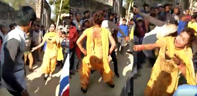 Transgender Dancer at Indian Wedding gets Kicked in Face f