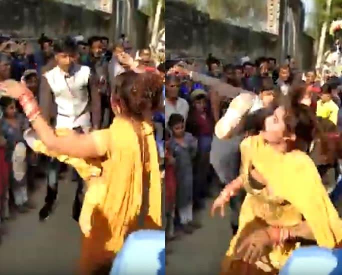 Transgender Dancer at Indian Wedding gets Kicked in Face - kick