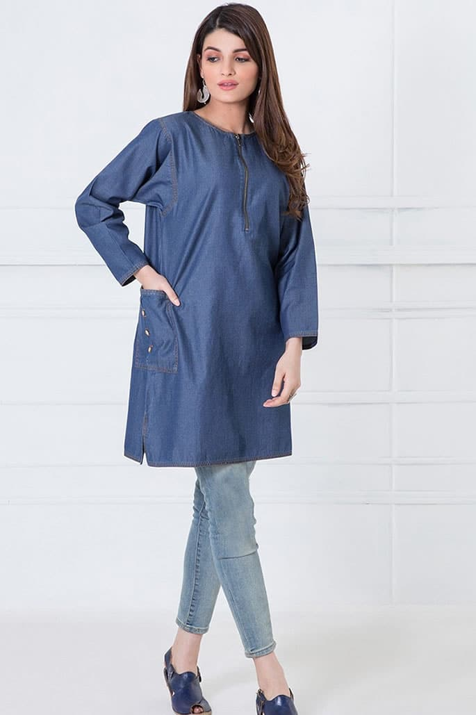 10 Contemporary Fashion Looks of Pakistani Women - Denim Kurta